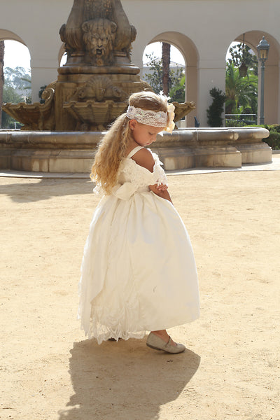 Comunion-Flower girl off the shoulder dress-Photo prop-Genesis - ElenaCollection  - 1