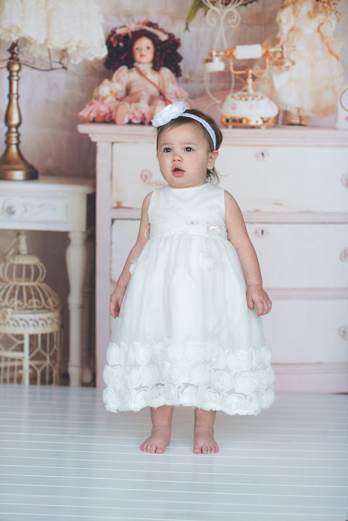 Flower baby girl dress-Baptism-Christening-Brandy - ElenaCollection  - 5