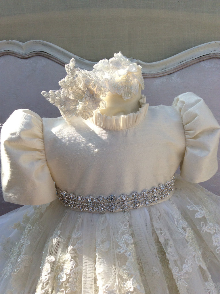 Victoria - Christening Gown with Bonnet/Baptism Dress for Girls