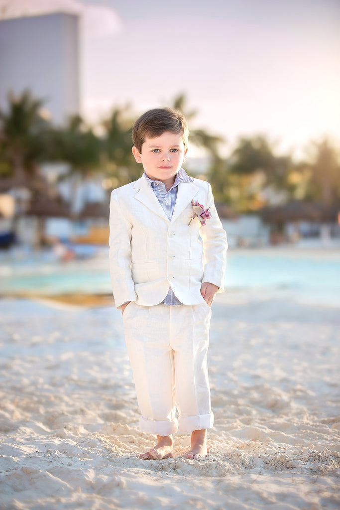 Ringbarers-Boy linen suit-Ivory boysuits-bridal-Photoprop - ElenaCollection  - 4