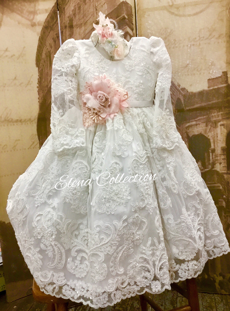 Natalie Long Sleeve Lace Christening Dress
