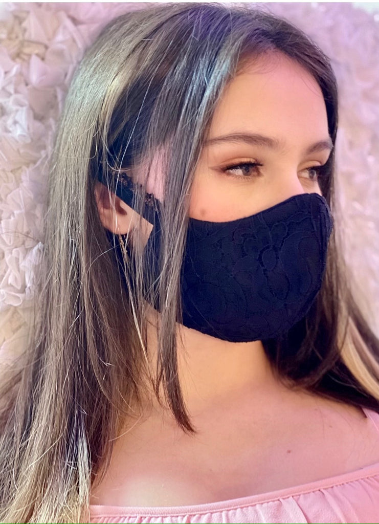 Black Lace Face Mask - Catherine