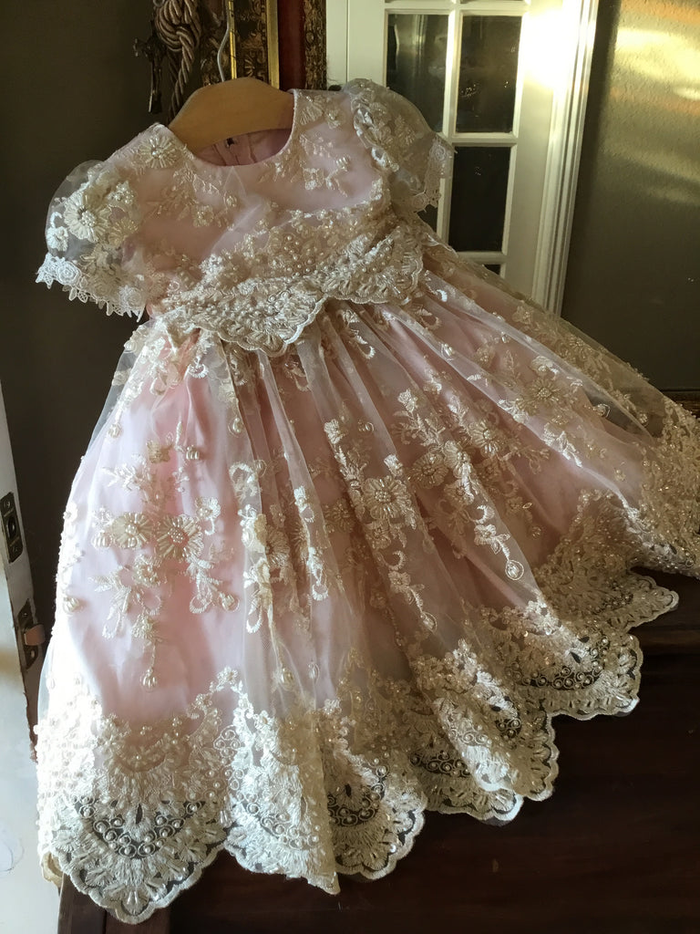 Roxana-infant baby lace dress-Christening-baptism-flower girl