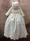 Christening Gown with Bonnet - Baptismal Gown - Furry