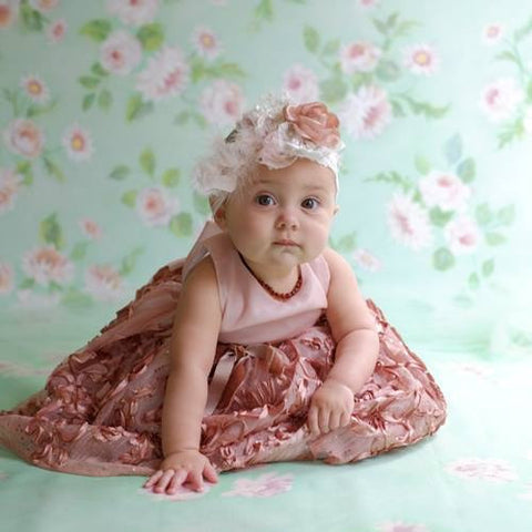 Flower Girl Baby Dress with Head Band-Adriana - ElenaCollection  - 1