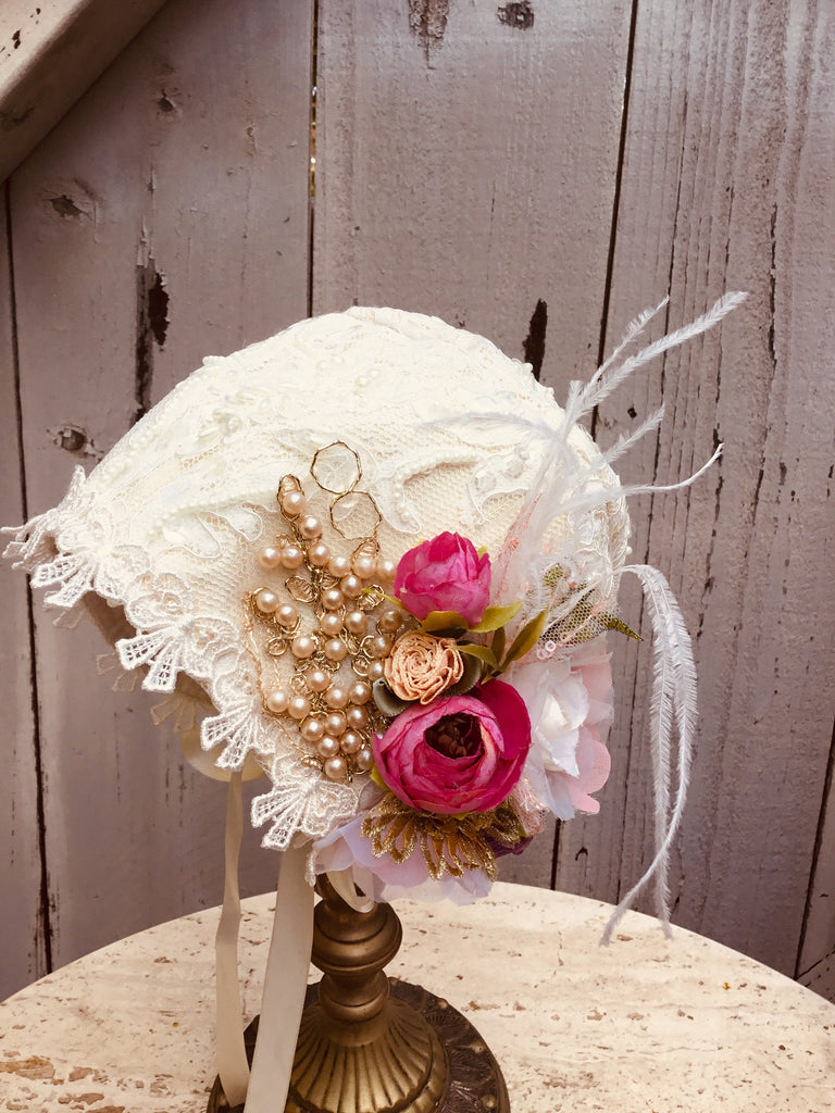 Lace Bonnet / Baby Photo prop -Amalia