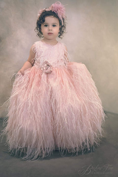 Flower girl blush feather dress-Roro