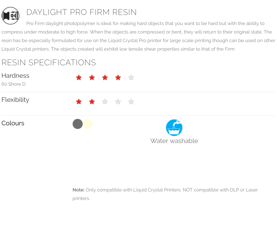 DAYLIGHT PRO FIRM RESIN - PHOTOCENTRIC3D