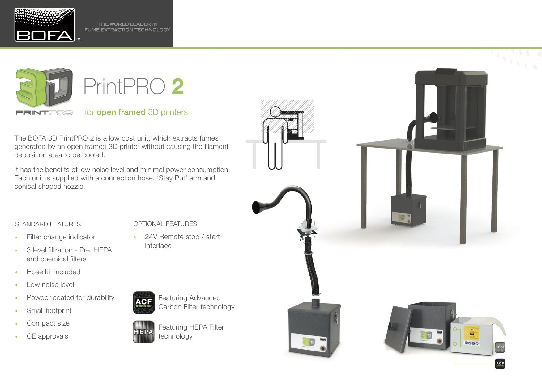 BOFA 3D printpro 2 - 3D printing fume extraction and filtration systems