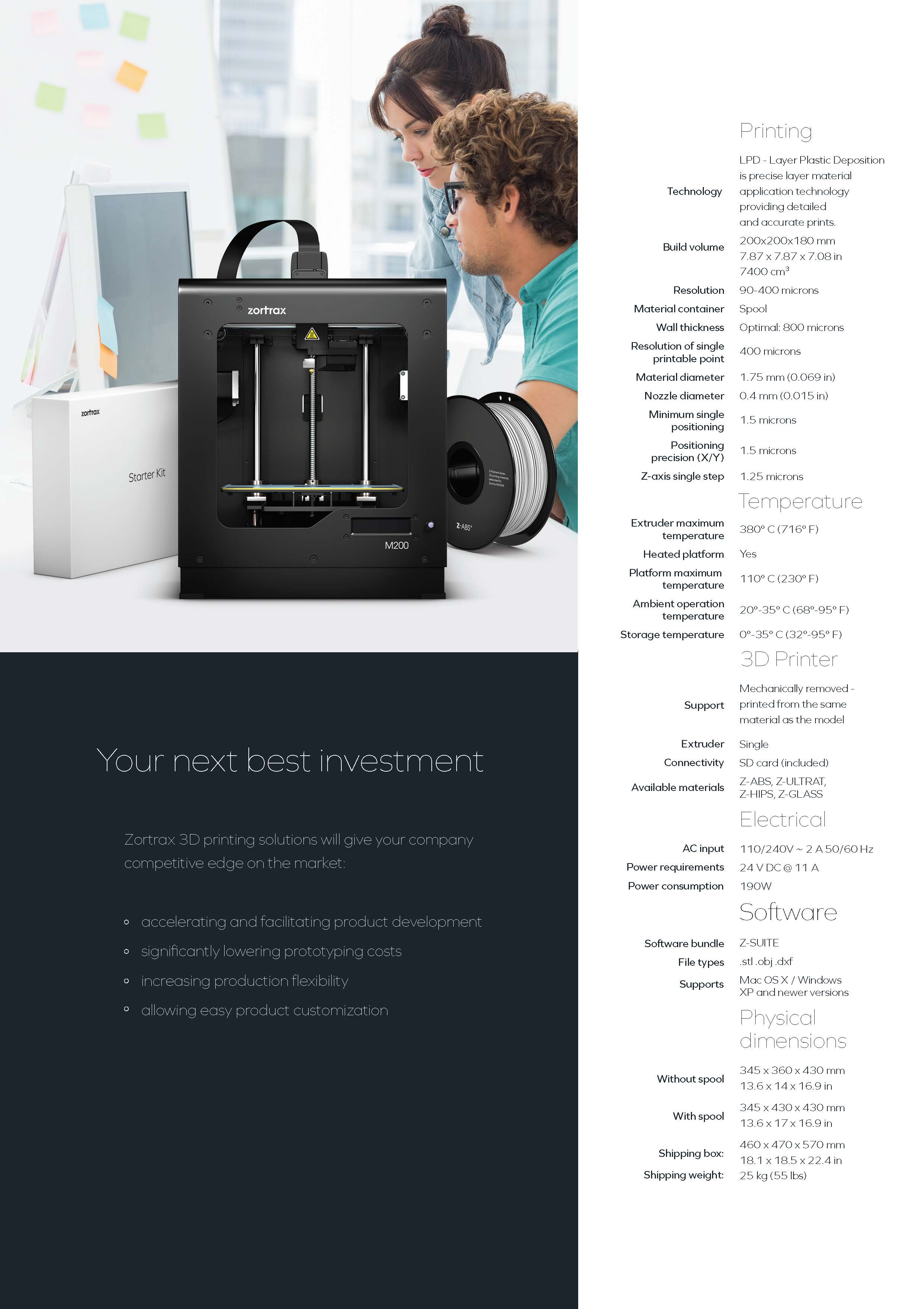 Zortrax M200 Brochure Ultimate 3D Printing Store