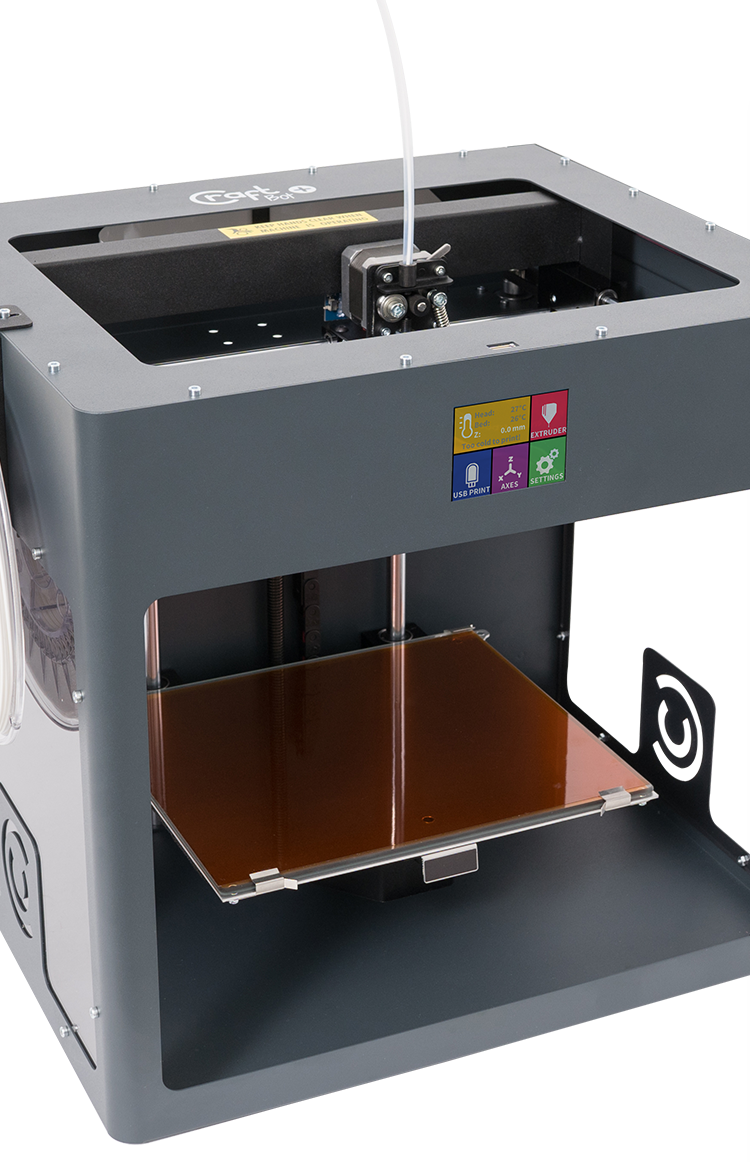 Picture of white CraftBot Glass 3D printer that is fully assembled