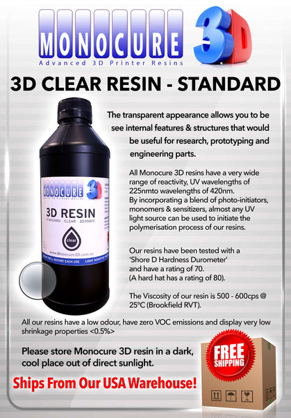 Clear - monocure standard 3D resin 1 liter - from monocure resin - Ultimate 3D Printing Store