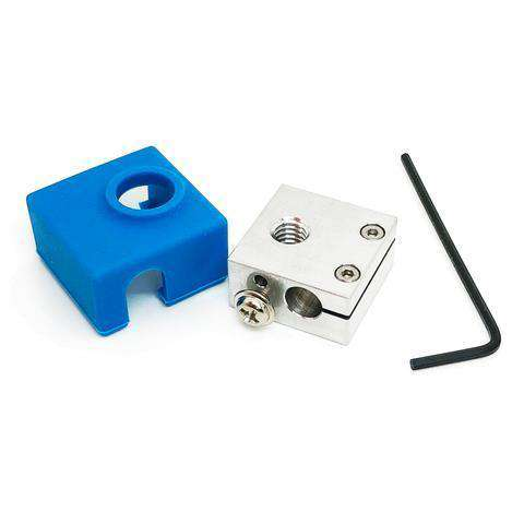 Heater Block Upgrade with Silicone Sock for CR10 / Ender 2 / Ender 3 / ANET A8 Printers MK7, MK8, MK9 Hotends - Mirco Swiss