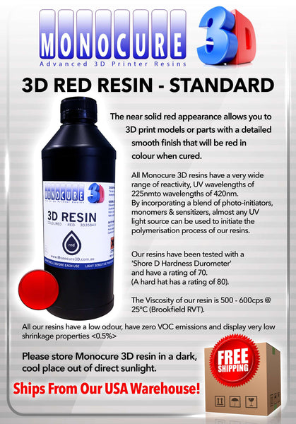 Red - Monocure Standard 3D Resin 1 Liter - From Monocure Resin - Ultimate 3D Printing Store