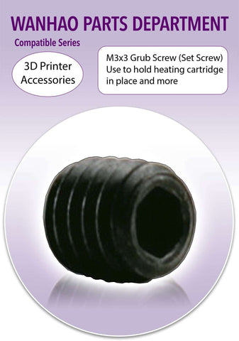 Wanhao 3D Printer Part  M3x3 Grub Screw To Secure Heating Cartridge in Mounting Block - Ultimate 3D Printing Store