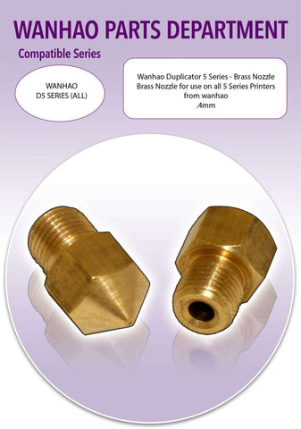 Wanhao Duplicator 5 Series 3D Printer Parts- Brass Extruder Nozzle - Ultimate 3D Printing Store