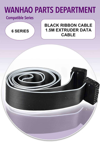 Wanhao Duplicator 6 Series 3D Printer Parts - Black Ribbon Cable 1.5m Extruder Data Cable - Ultimate 3D Printing Store
