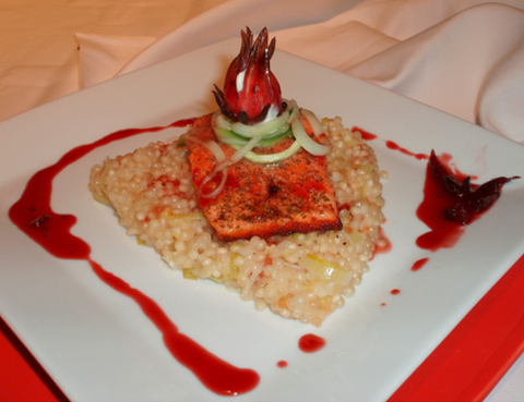Wild Hibiscus Glazed Ocean Trout with Champagne & Lemon Cous Cous 'Risotto', Pickled Cucumber & Crab Filled Flower!