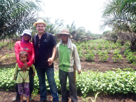 Lee with farmers