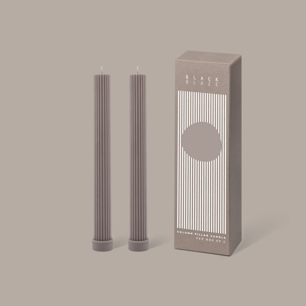 BLACK BLAZE: Column Pillar Candle Duo - Beige