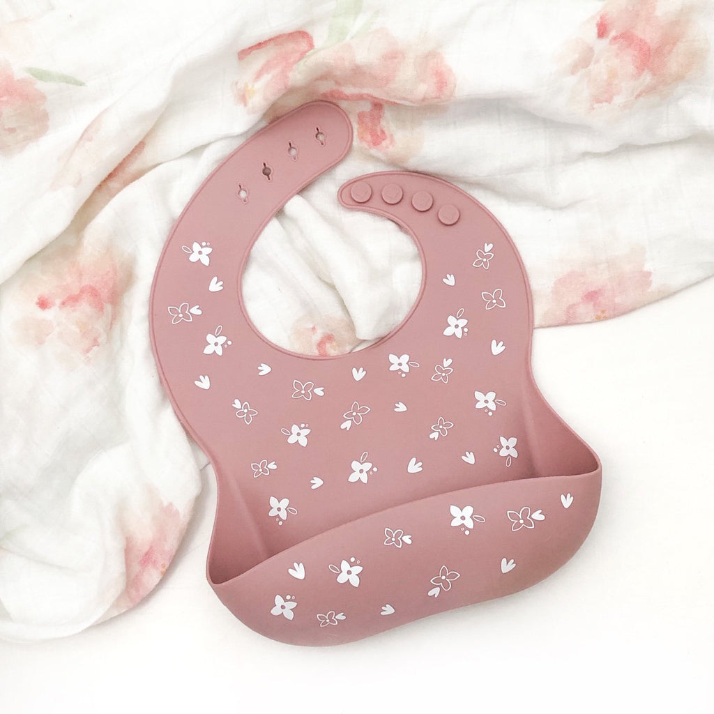 ONE CHEW THREE: Silicone Catch Bib - Floral Rose