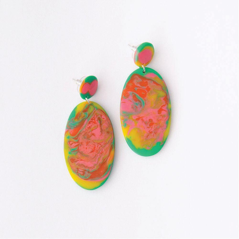 RUBY OLIVE: Paradiso Oval Disc Drop Earrings