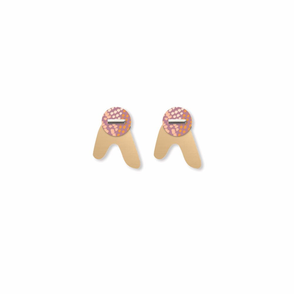 MOE MOE DESIGN: Organic Akweke Stories - Layered Arrow Stud Earrings