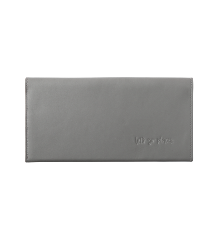 EMMA KATE CO: Leather Travel Wallet Clutch - Grey