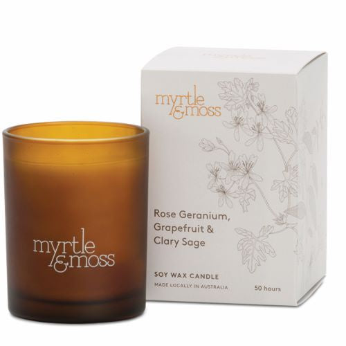 MYRTLE & MOSS: Soy Wax Candle - Rose Geranium, Grapefruit & Clary Sage