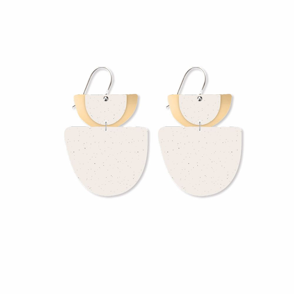 MOE MOE DESIGN: Flaxen Clay - Layered Double Bell Drop Earrings