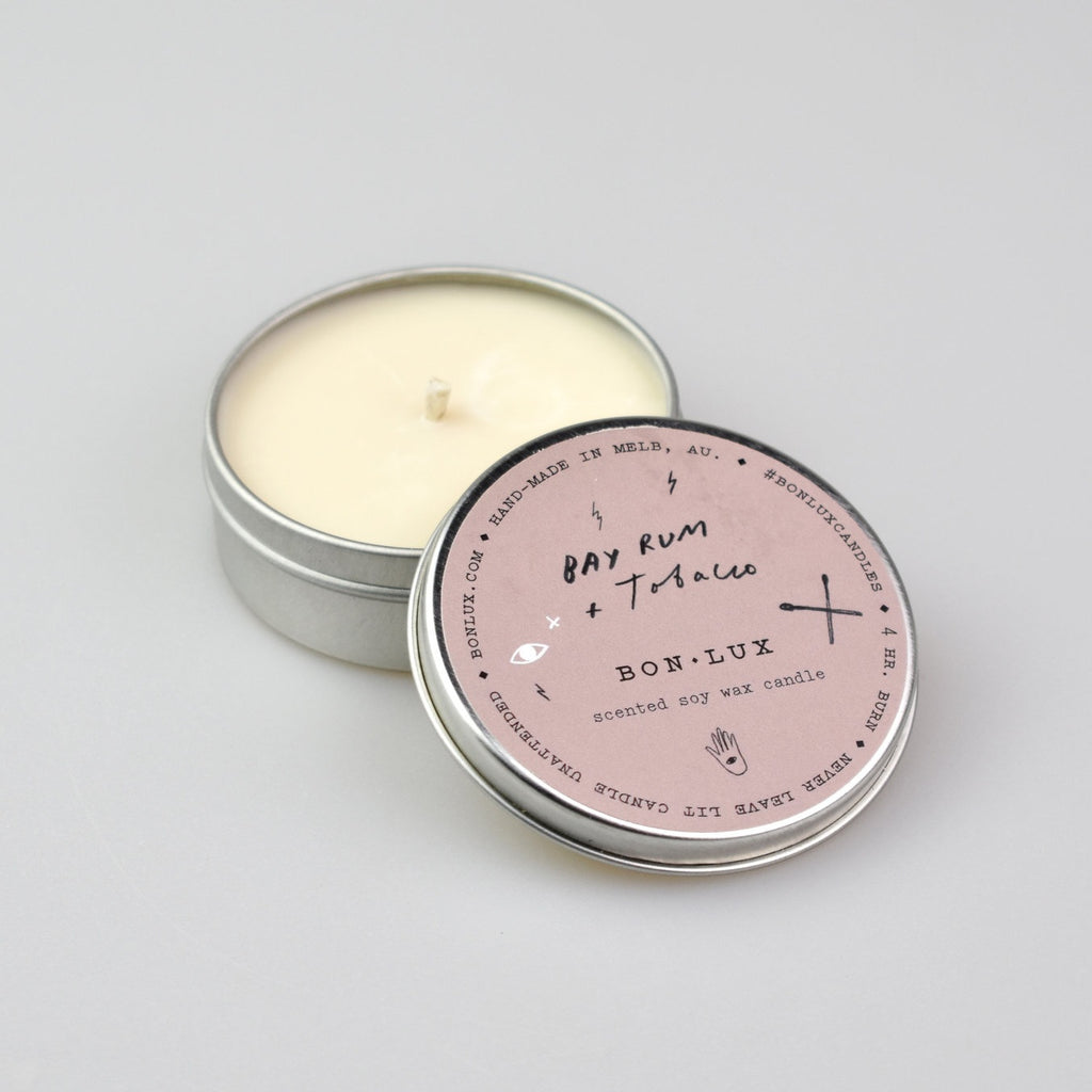 BON LUX: Travel Tin Candle - Bay Rum + Tobacco