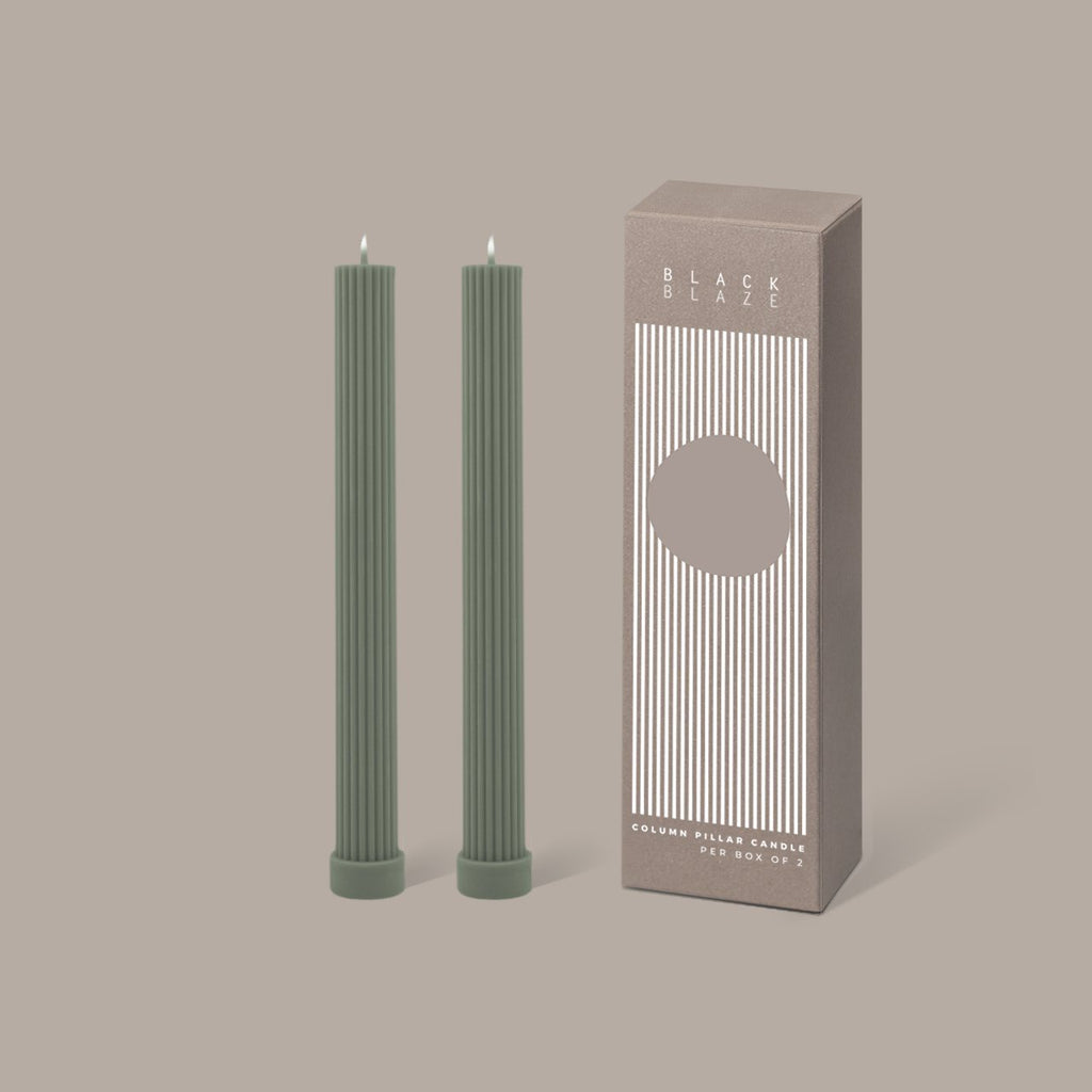 BLACK BLAZE: Column Pillar Candle Duo - Eucalyptus