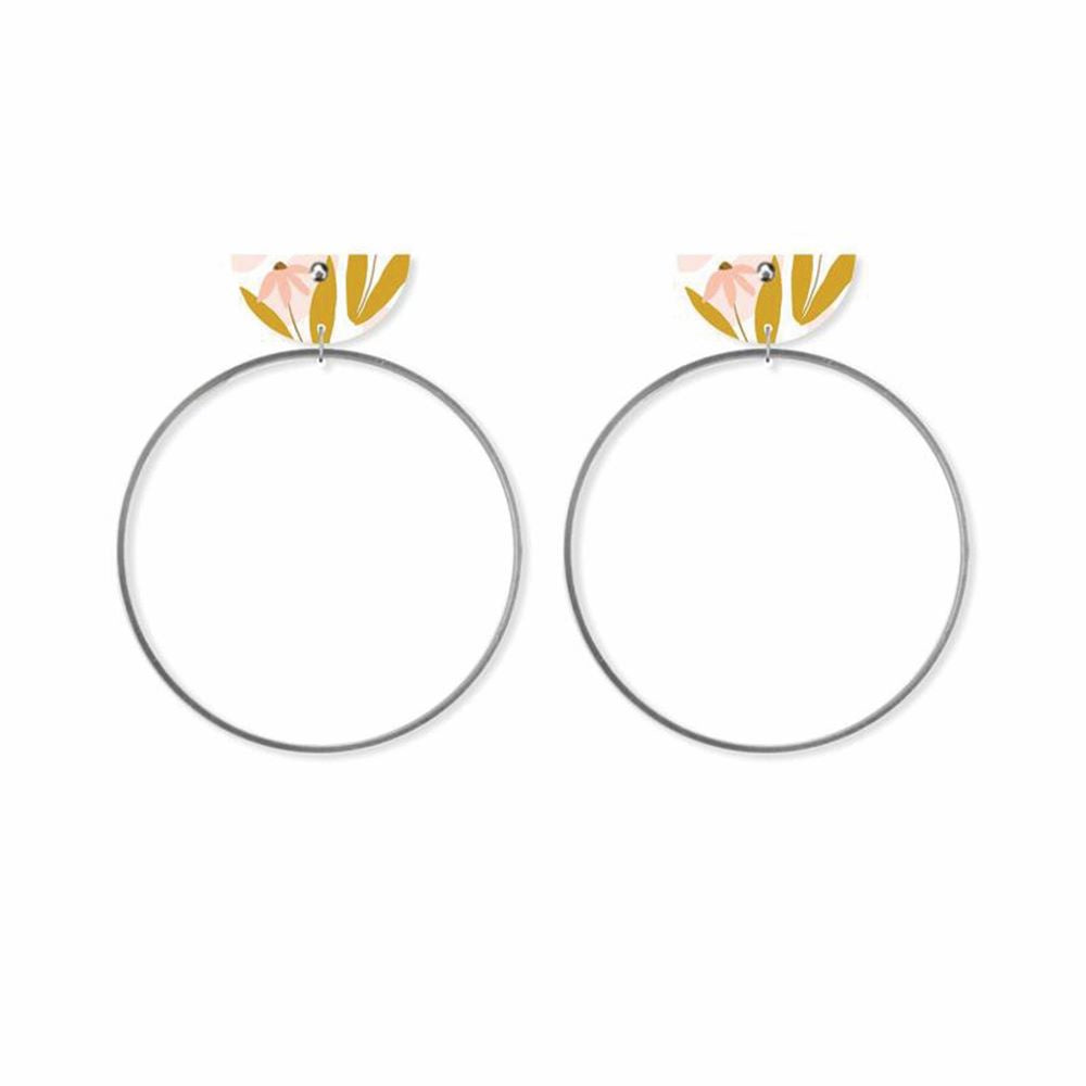 MOE MOE DESIGN: Marguerite Bloom - Moon Ring Stud Earrings