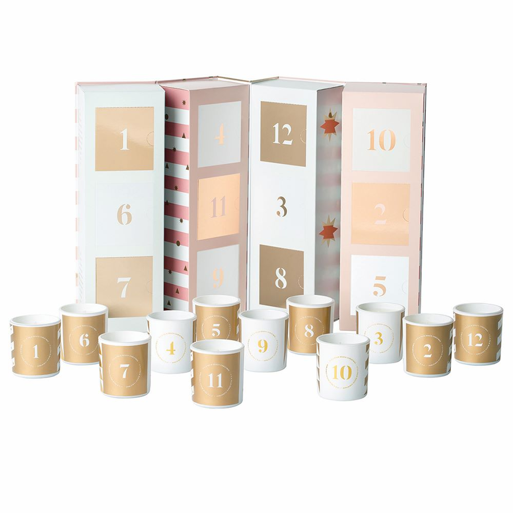 PALM BEACH: Christmas Candle - Advent Calendar / Pink Stripe