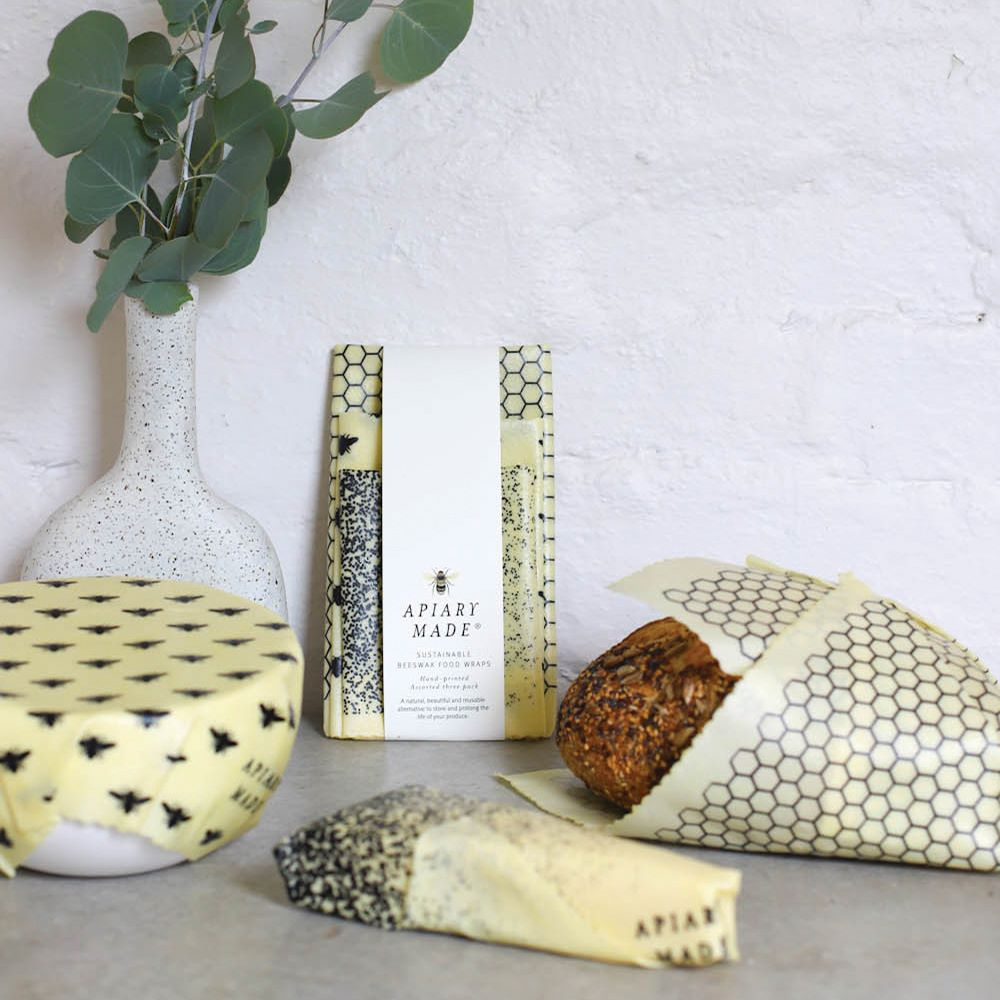 APIARY MADE: Beeswax Food Wraps - Assorted Three Pack / Bee Pattern