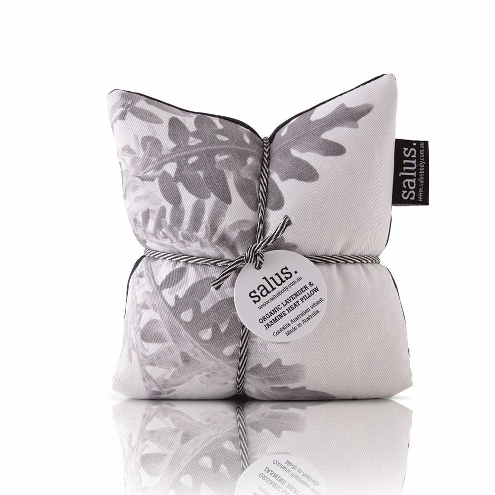 SALUS: Heat Pillow - White & Grey Botanical Lavender & Jasmine