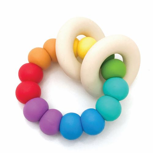 ONE CHEW THREE: GUMMI Silicone Teether - Duo / Rainbow Bright