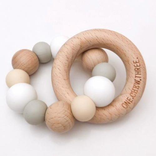 ONE CHEW THREE: Wood Teether - Naturals / White