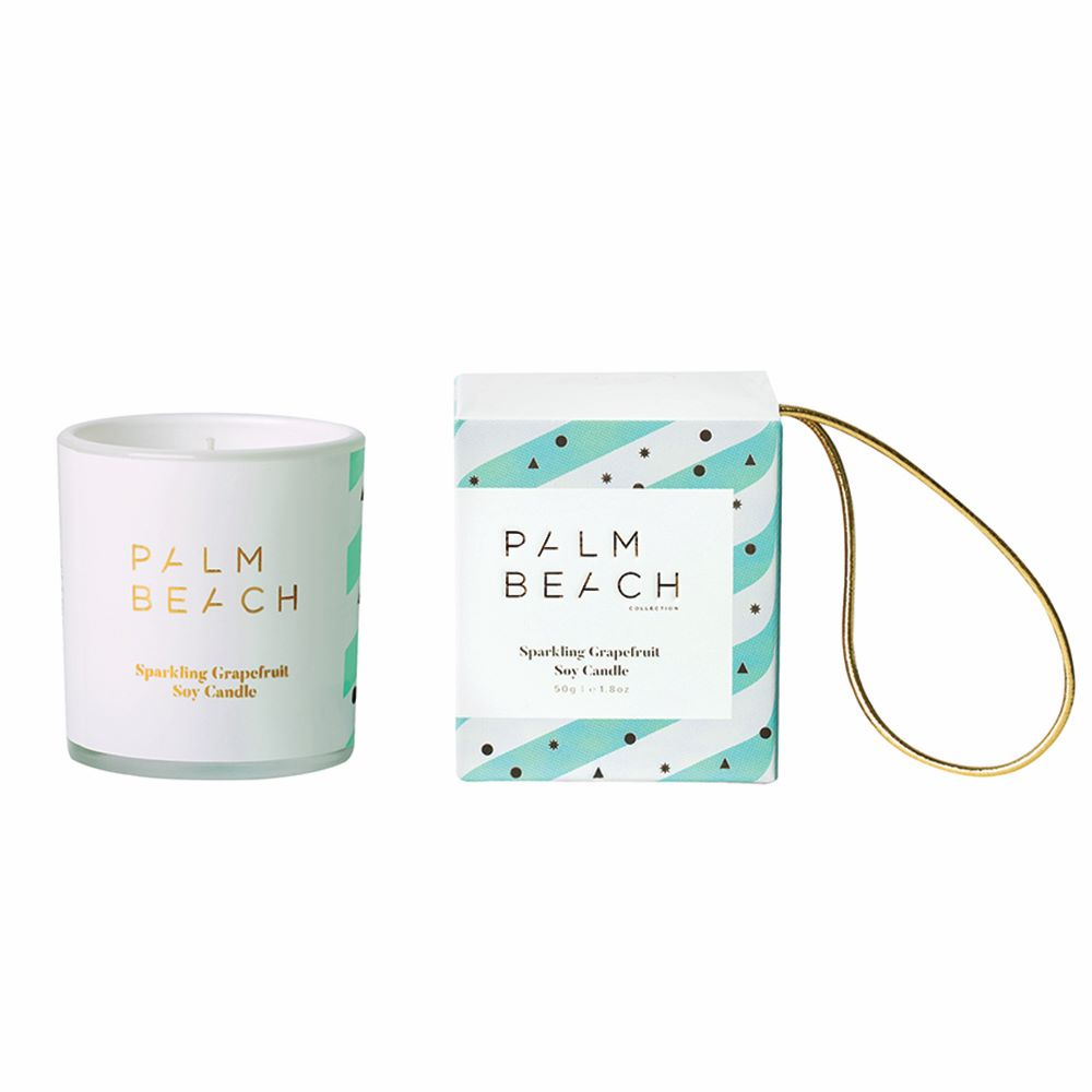 PALM BEACH: Christmas Hanging Bauble Candle - Sparkling Grapefruit