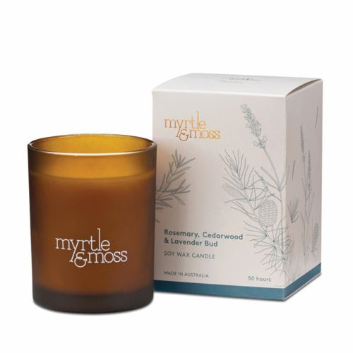 MYRTLE & MOSS: Soy Wax Candle - Rosemary, Cedarwood & Lavender Bud