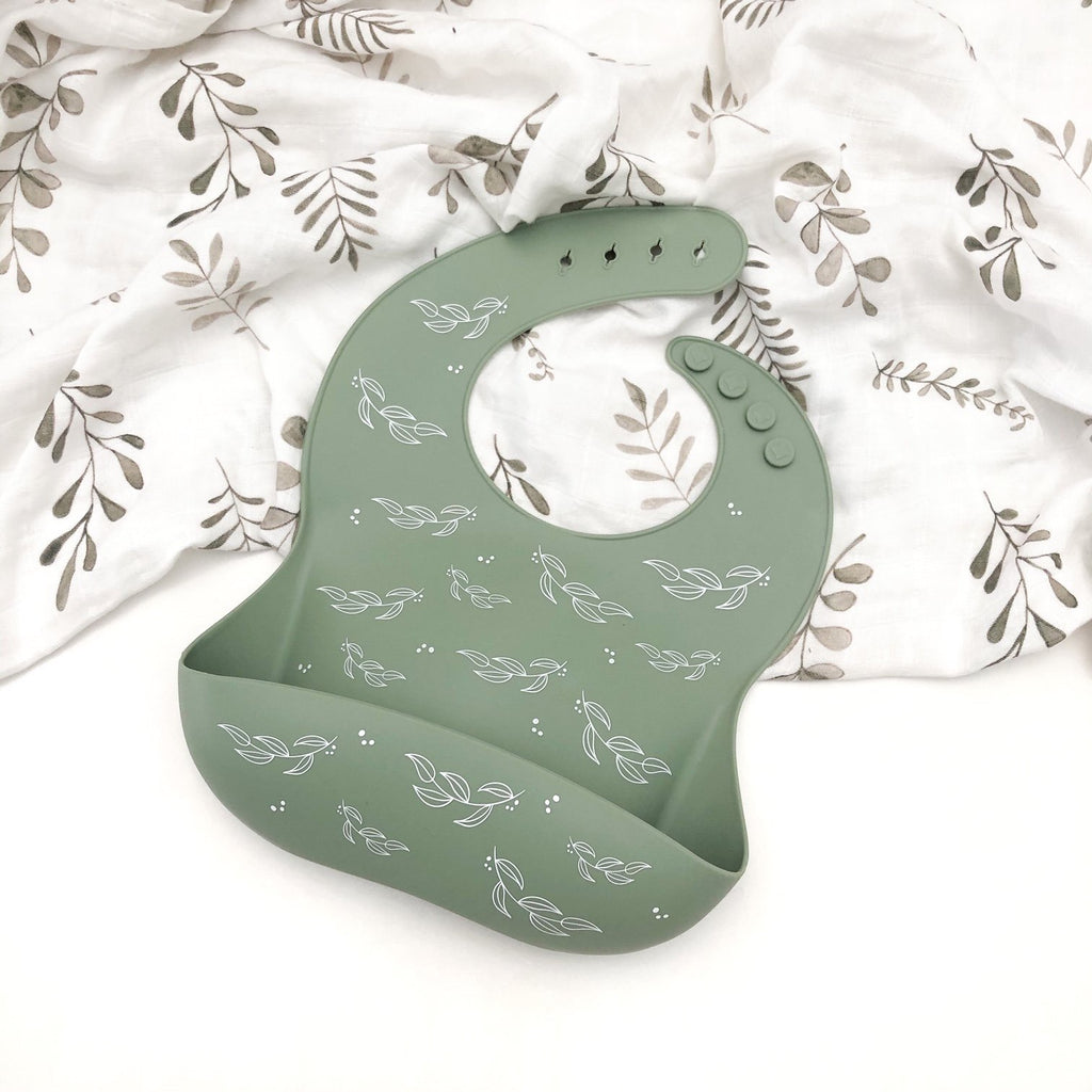ONE CHEW THREE: Silicone Catch Bib - Sage Foliage