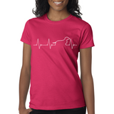 Love My Dachshund Heartbeat Ladies Tee