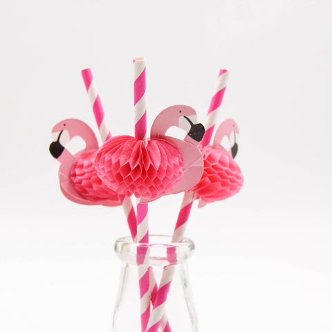 10 ct Pink Honeycomb Flamingo Drinking Straws