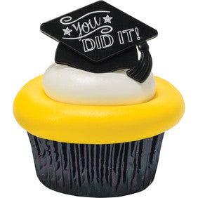 Graduation Cap Cupcake Rings - 24