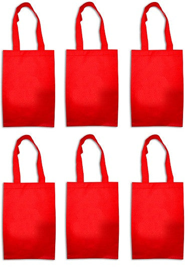12 Woven Tote Favor Party Bags - Red