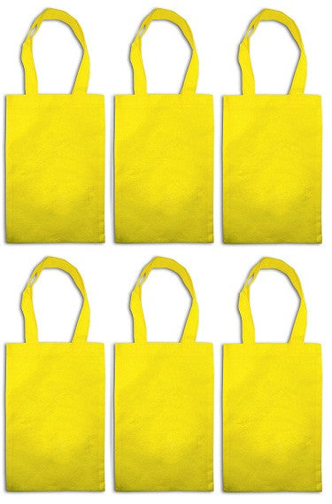 12 Woven Tote Favor Party Bags - Yellow