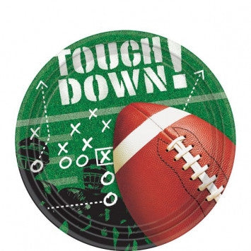 "Football Touchdown! Round Lunch 9"" Plates - 50 ct Tableware"