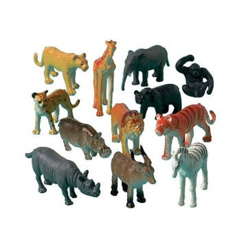 12 Jungle Safari Animals Party Favors - Assorted