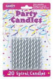 Spiral Silver Birthday Candles - 20ct