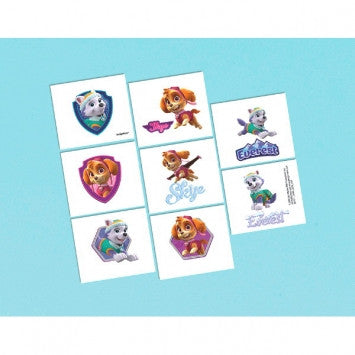 16 Girl Pups Paw Patrol Temporary Tattoos Party Favors